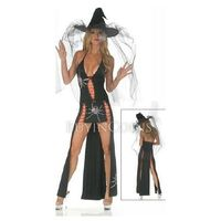 Sexy 2 Piece Black Widow Gown Halloween Costume Set Long Dress With Matching Hat