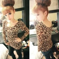 Sexy Women Slim Leopard Round Neck Long Sleeve Bottoming Shirt Top Blouse 010
