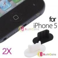 2 X Bottom Anti Dust Plug Dock Port Stopper Cap for Apple iPhone 5 5th Gen Five