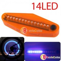 14 LED 40 Design Patterns Car Bike Bicycle Wheel Spoke Light Lamp Waterproof #8