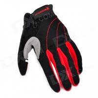 Outdoor Sports Cycling Full-Finger Spandex Gloves - Black + Red (Pair / Size-L)