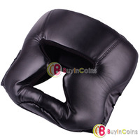 Durable Black Kick Boxing Training Helmet Head Gear Guard Face Protection