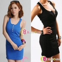 Long Section Five Buckle Tight Sports Style Skirt Sleeveless U-neck Slim Vest Dress ds1142