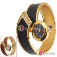 Women Fashion Snake Skin Bangle Cuff Bracelet Wrist Watch Black and Red #49