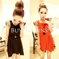 New Fashion Women's Individuality Shoulder Pads Chiffon Short Sleeve Skirt Dress DS1080