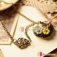 Cute Vintage Cat Heart Flower Opened Locket Pendant Necklace Sweater Long Chain