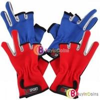 Nylon Sport Nonslip Dot Palm Two Finger Fishing Gloves 1