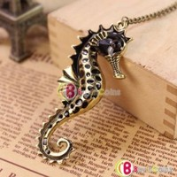 European Vintage Animal Seahorse Pendant Sweater Chain Long Necklace