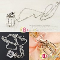 Crystal Bowknot Tie Gift Box Pendant Elegant Chain Necklace Fashion Party Lady