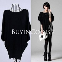 New Sexy Women Loose Solid Color Bat Sleeve Package Hip T-shirt Top Blouse 294
