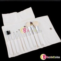 10 PCS White Professional Cosmetic Makeup Eyeshadow Eyeliner Brushes Brush Set + Bag