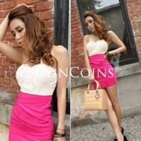Sexy Women Slim Chiffon Stitching Low-Cut Package Hip Clubwear Mini Party Dress 667
