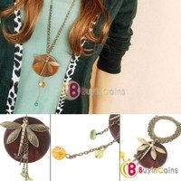 Fashion Lady Charming New Lovely Style Wood Dragonfly Pendant Necklace Hot Gift