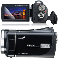 """Genius G-Shot HD585T, FullHD 1080P Camcorder, 5 Megapixels photo function, 3"""" touch LCD panel, Flash/LED, 5x Optical zoom, HDMI, Lithium-ion battery"""