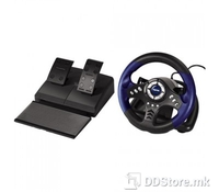 "Hama 62865 PC Racing Wheel ""Thunder V18"", USB, Color: Black/Blue, Built-In Vibration Motor, 10 action buttons, 8-way controller, Toggle button: analogue/digital, Start and Select button, Accelerator and brake pedal, Rocker switch, Steering Wheel Diam"