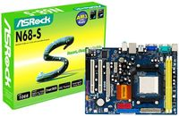 ®N68-S, NVIDIA GeForce 7025, Integrated NVIDIA® GeForce 7025 graphics DX9.0 VGA, Pixel Shader 3.0 Max. shared memory 256MB,  Graphic slot 1x PCI Express x16, 1x PCI Express x1, 4x SATA2(1x ATA133 IDE), Audio 6-CH(HD), Lan 10/100, M-ATX